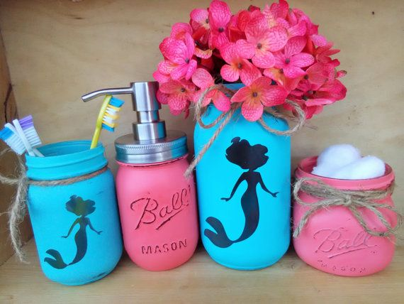 Mermaid Bathroom Decor Mermaid Decor Mermaid Painted Mason Jars Mason Jar Bathroom Set For Girls Mermaid Bath Decor Mermaid Bath Set