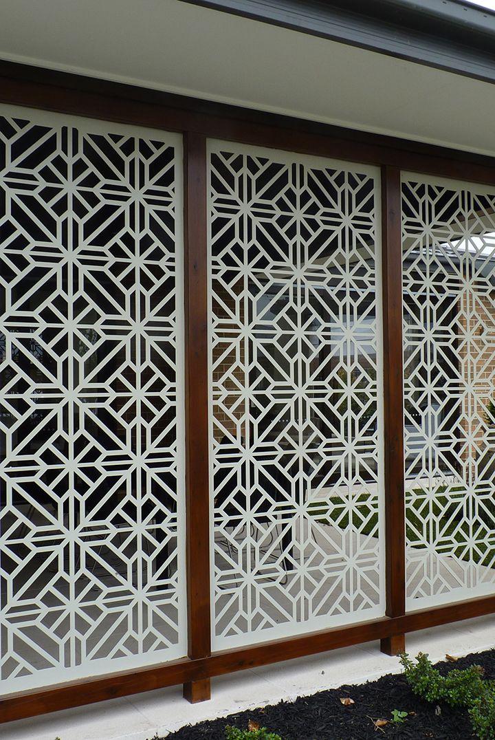 A gorgeous installation of the QAQ decorative screen design 'Washington' cut in mild steel.