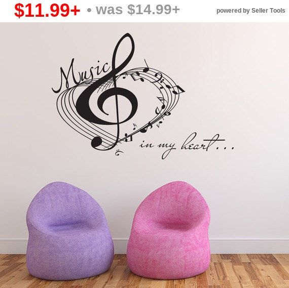 SALE! Black Friday Music Wall Decals Treble Clef Notes Vinyl Sticker Quote About Music Vinyl Decal Love Of Music Art Decor For Bedroom Ho... by LollipopDecals on Etsy https://www.etsy.com/listing/398450691/sale-black-friday-music-wall-decals