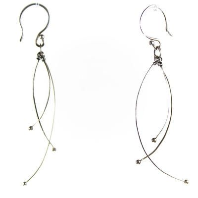 Tickle Earrings - Zuzana Korbelarova hand forged and fabricated silver jewelry, represented by Human Arts Gallery in Ojai, CA.