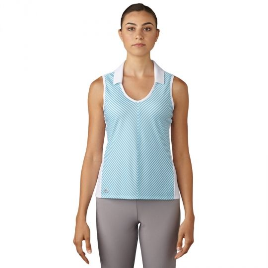 Check out what #lorisgoflshoppe has for your days on and off the golf course! White Adidas Ladies Climachill Sleeveless Fashion Golf Polo Shirt
