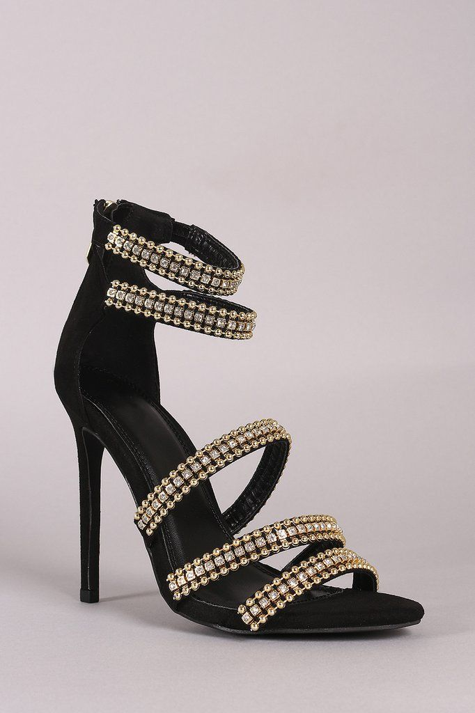 f2ca149d448d35 Rhinestone Beaded Accent Strappy Stiletto Heel