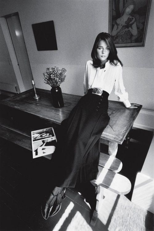 Charlotte Rampling wearing Yves Saint Laurent for Vogue, 1970. Photo by Jeanloup Sieff.