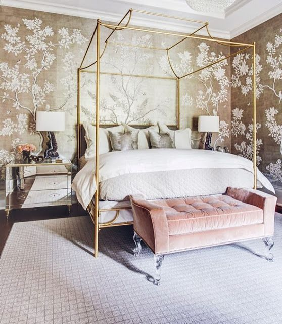 Chinoiserie wallpaper is another classic style making a comeback. The worn appearance of this floral wallcovering adds to the romance of the design. Paired with luxurious textures like velvet and brass, this maximalist wallpaper adds a touch of vintage glamour to your bedroom.