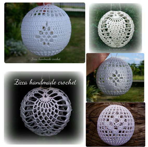 5 crochet christmas ball ornament pdf by ZiccaHandmadeCrochet