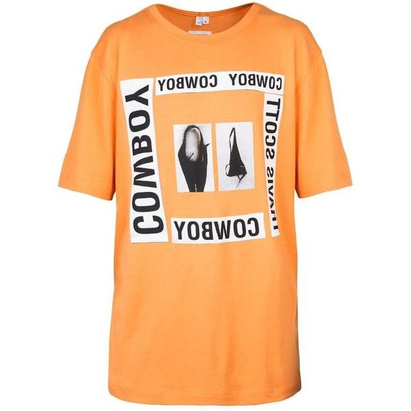 Helmut Lang x La Flame Cowboy Square Print Tee (Safety Orange) ❤ liked on Polyvore featuring tops, t-shirts, beige t shirt, crew-neck tee, short sleeve tee, short sleeve graphic tees and short sleeve t shirt