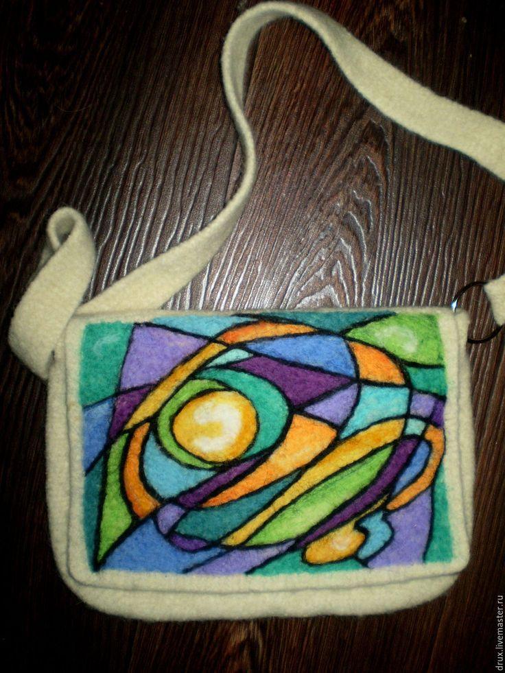 Купить валяная сумка - абстрактный, белый, клатч, маленькая сумочка, сумка вязаная, сумка вяленая