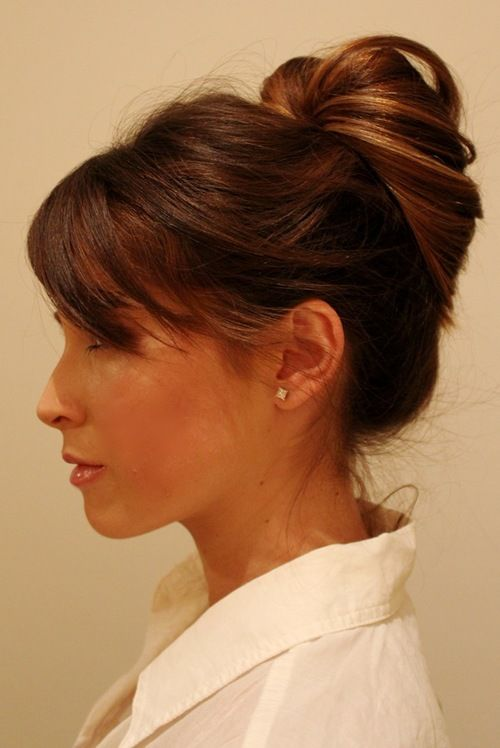 Easy hair updo - pull a high ponytail through itself!