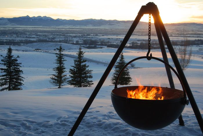 The Wrangler    Hanging fire pit by Cowboy Cauldron: Cowboycauldron Com, Cauldron Accessories, Cowboys Cauldron, Winter Wonderland, Cauldron Fire, Outdoor Cooking, Outdoor Fire Pit, Firepit, Fire Pots