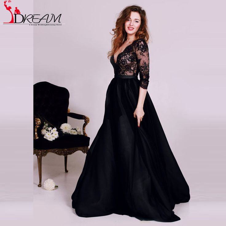 Sexy Deep V neck Black Lace Arabic Evening Dresses 2016 robe de soiree Puffy Half Sleeve Long Prom Dress Formal Gowns
