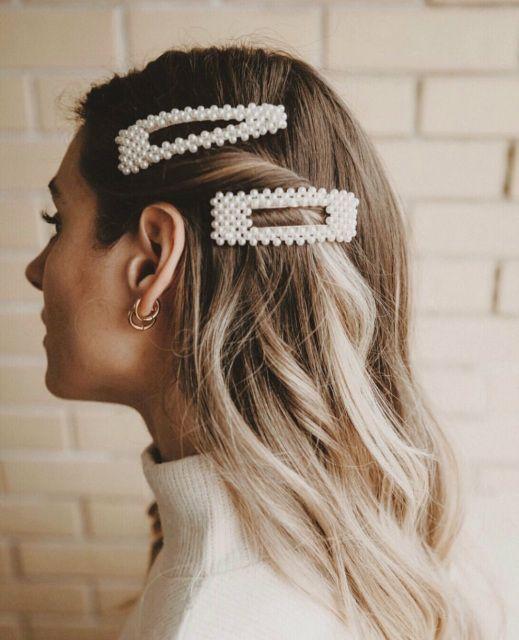 Große Perlen-Haarspange # Haarspange # Perlen