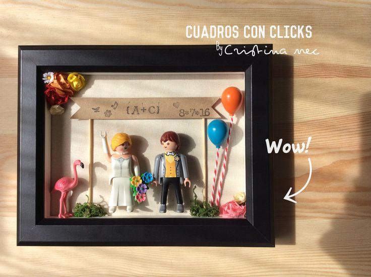 Cuadros con clicks de Playmobil para bodas!