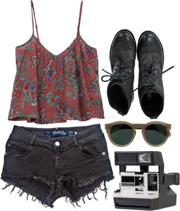 """""""Brandy"""" by simpleandyoung on Polyvore: faded black denim cut off shorts + flowy red western/aztec tank + black combat boots + vintage sunglasses + polaroid"""