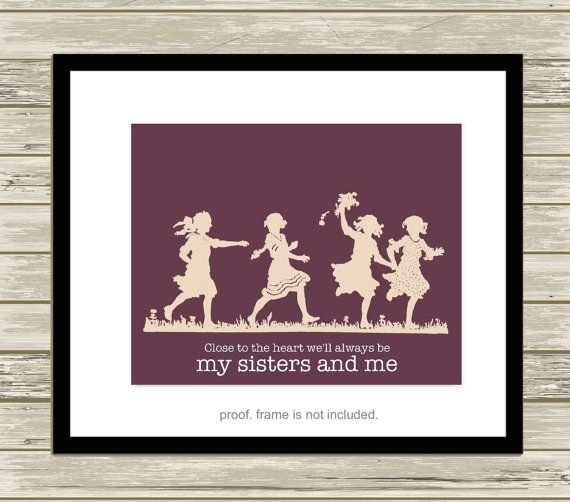 Four sisters wall art sisters room art  by PicabooArtStudio