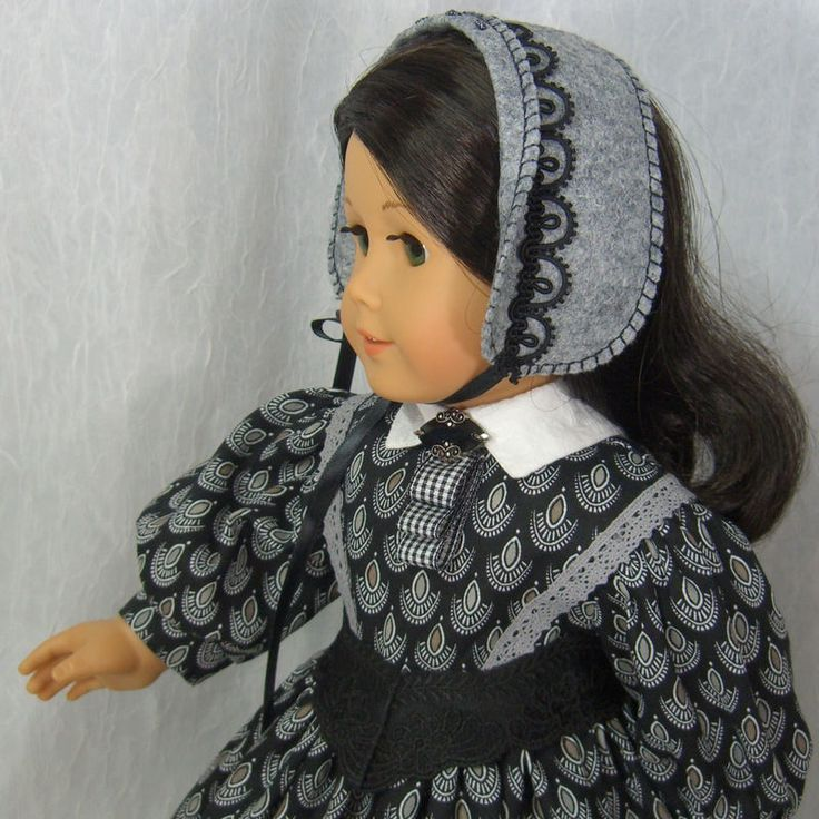 ~ CLASSIC BLACK & WHITE~ Civil War Dress & Bonnet for Addy or Cecile American Girl by IDreamOfJeanneMarie