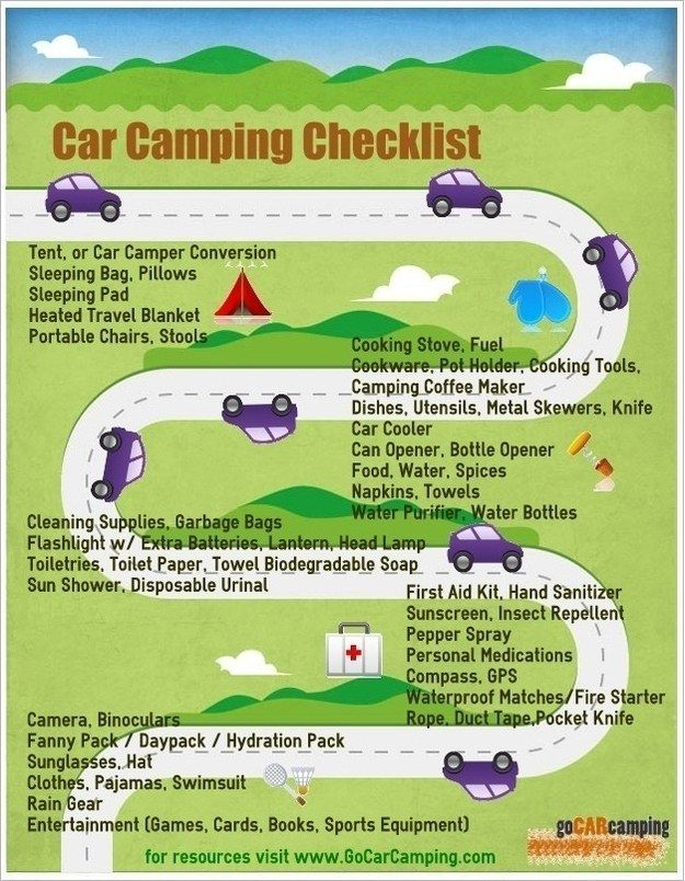 For car camping, follow this checklist: