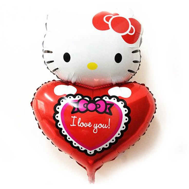 [Visit to Buy] 1pc 72*49cm Cute Hello Kitty Heart Foil Balloon for Wedding Decoration Valentine's Day Gift Birthday Party Supplies #Advertisement