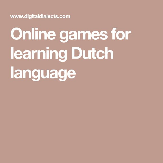 Online games for learning Dutch language