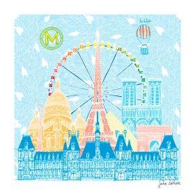 Arts Graphiques   Julie Zeitline   Un air de Paris   Tirage d'art en série limitée sur L'oeil ouvert