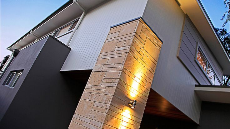 James Hardy Scyon Cladding, up/down external feature lighting, timber porch ceiling