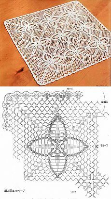 Квадратная салфетка из мотивов с цветами | Искусница