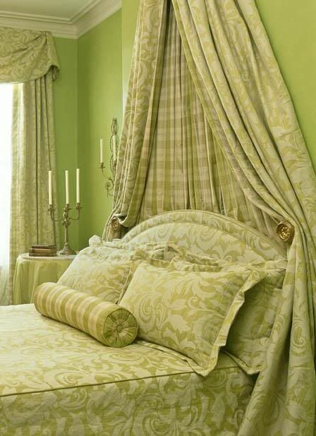 Very pretty green bed.