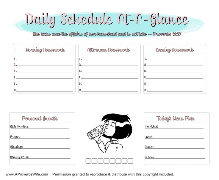 FREE Daily Homemaking Schedule | AProverbsWife.com | #ProverbsWife #HomemakingProverbs Wife, Cleaning Daily, Daily Schedules, Homemaking Schedule, Homemaking Binder, Daily Homemaking, Proverbs 31 Wife, Free Daily, Printables Daily