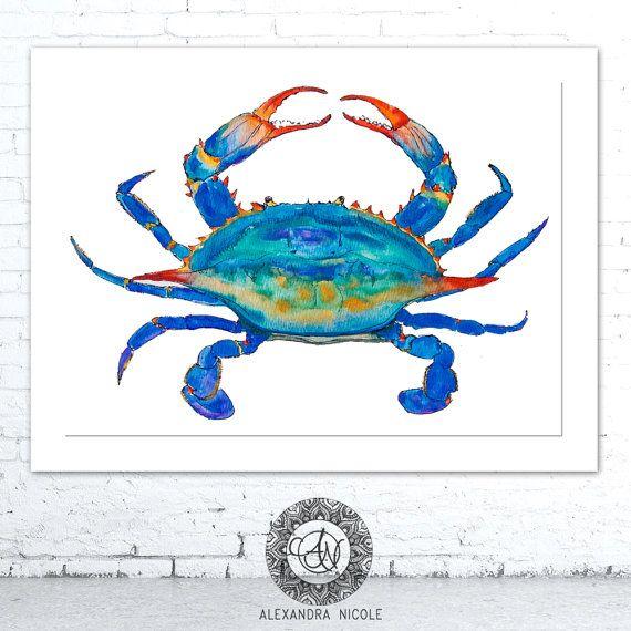 Crab Painting, Crab Print, Maryland Blue Crab, Nautical Art Print, Ocean Life, Crab Watercolor, Beach House, Etsy Finds, Coastal Wall Art