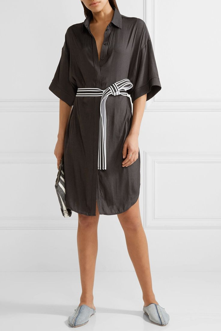 Maje | Belted twill shirt dress | NET-A-PORTER.COM