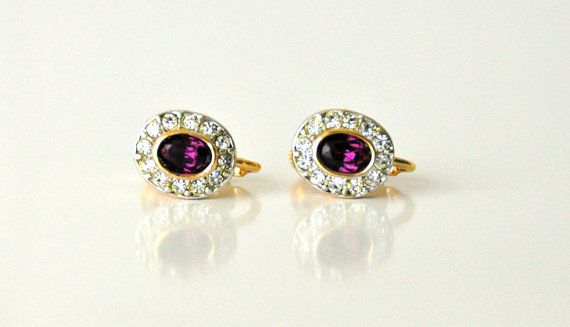 Clear and purple crystals gemstones clip earrings by Bellalizd, $49.99