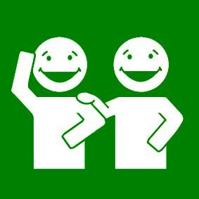 Pictogram: laugh together green