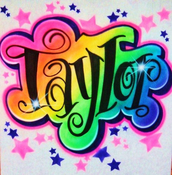 Airbrush T Shirt Rainbow Colors And Name by BizzeeAirbrush on Etsy