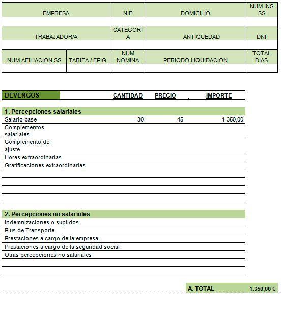 Ejemplo de recibo de sueldo | Modelo | Plantilla