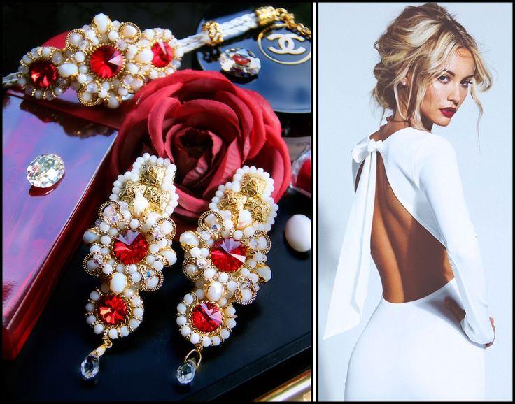 Swarovski crystals beaded earrings and bracelet