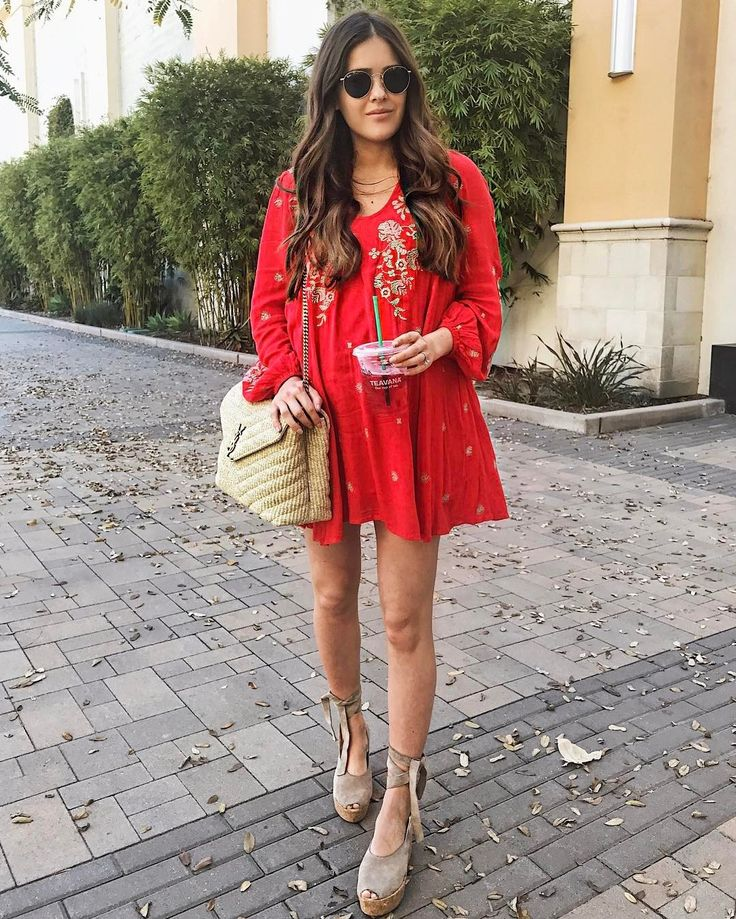 Pair a red flowy dress with espadrilles.