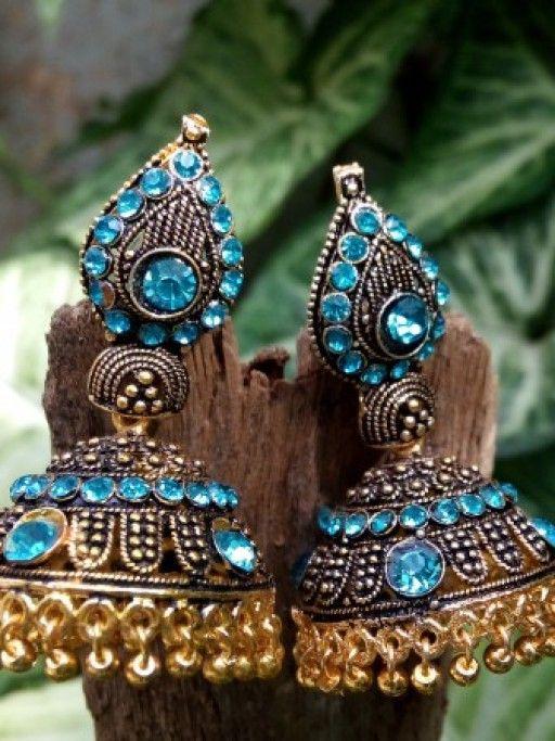 Traditional Sky Blue Jhumka Earrings.  Buy them - http://jumkey.com/shop/all-earrings/beautiful-traditional-sky-blue-jhumka-earrings/