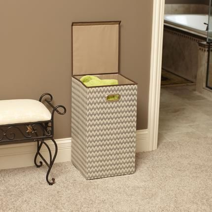 Tan/ Chevron Laundry Hamper with Lid