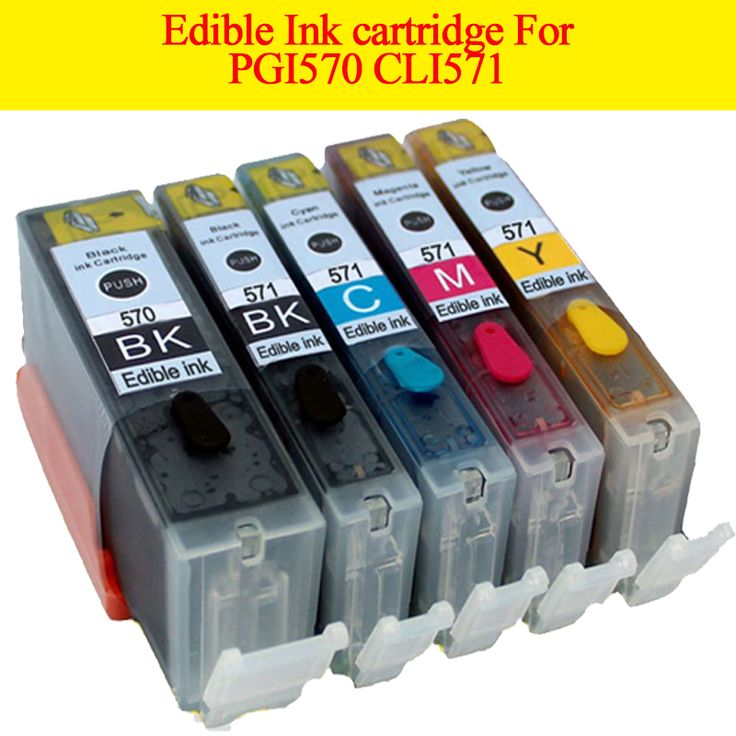 5pcs PGI570 CLI571 PGI 570  edible ink cartridge For canon Pixma MG5700 MG5750 MG5751 MG5752 MG5753 MG6800 MG6850 MG6851 MG6852