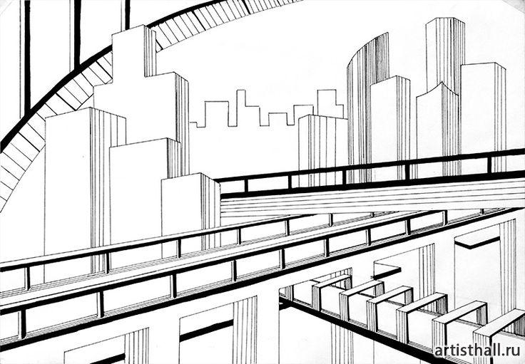 Композиция Мегаполис - графический вариант #art #design #draw #композиция #графика #мегаполис #artworkshop #artisthall