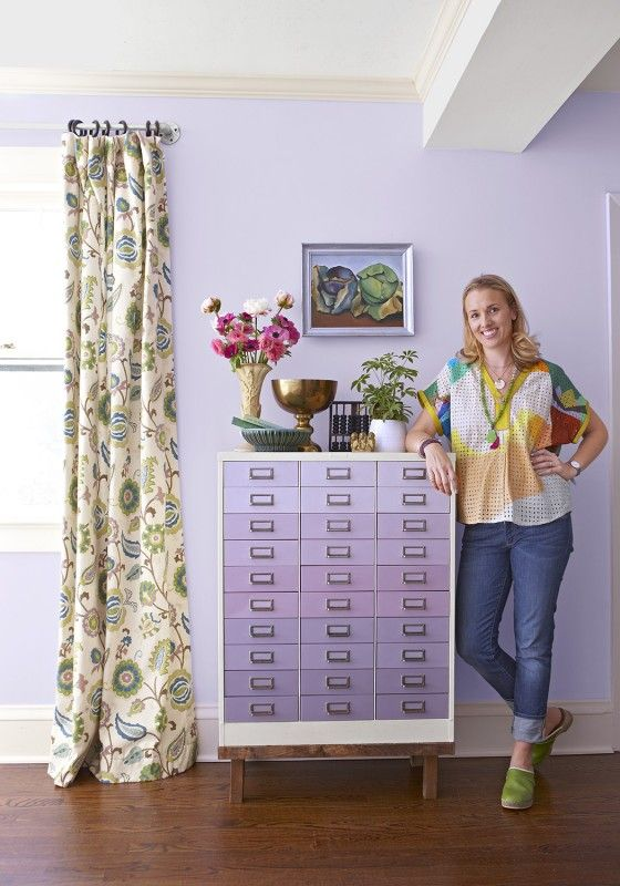 Ombre is not just for your hair! DIY a cabinet with paint and give it a trendy ombre look. This upcycled cabinet uses different shades of purple paint on the drawer fronts to achieve a fun and cool look. Put this upcycled furniture piece in your home office or bedroom.