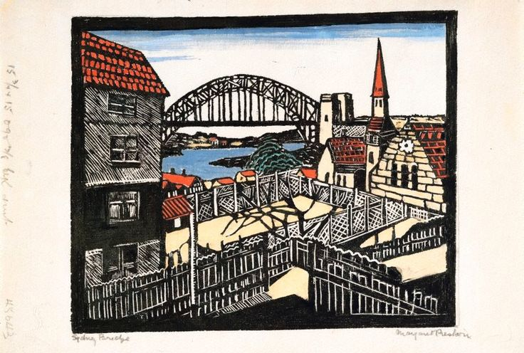 Sydney Bridge, (circa 1932) by Margaret Preston :: The Collection :: Art Gallery NSW