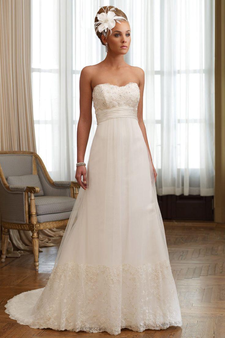 Robe de mariée en dentelle à A-ligne décolletée en coeur empire à traîne Court avec ceinture – Persun.fr