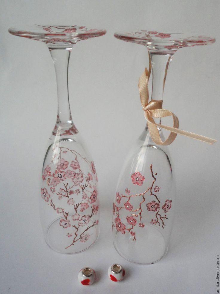 Купить бокалы для шампанского Сакура - бледно-розовый, сакура, свадебные бокалы, свадьба, бокалы для свадьбы http://www.livemaster.ru/catalogue/posuda/bokaly-stakany?from=120
