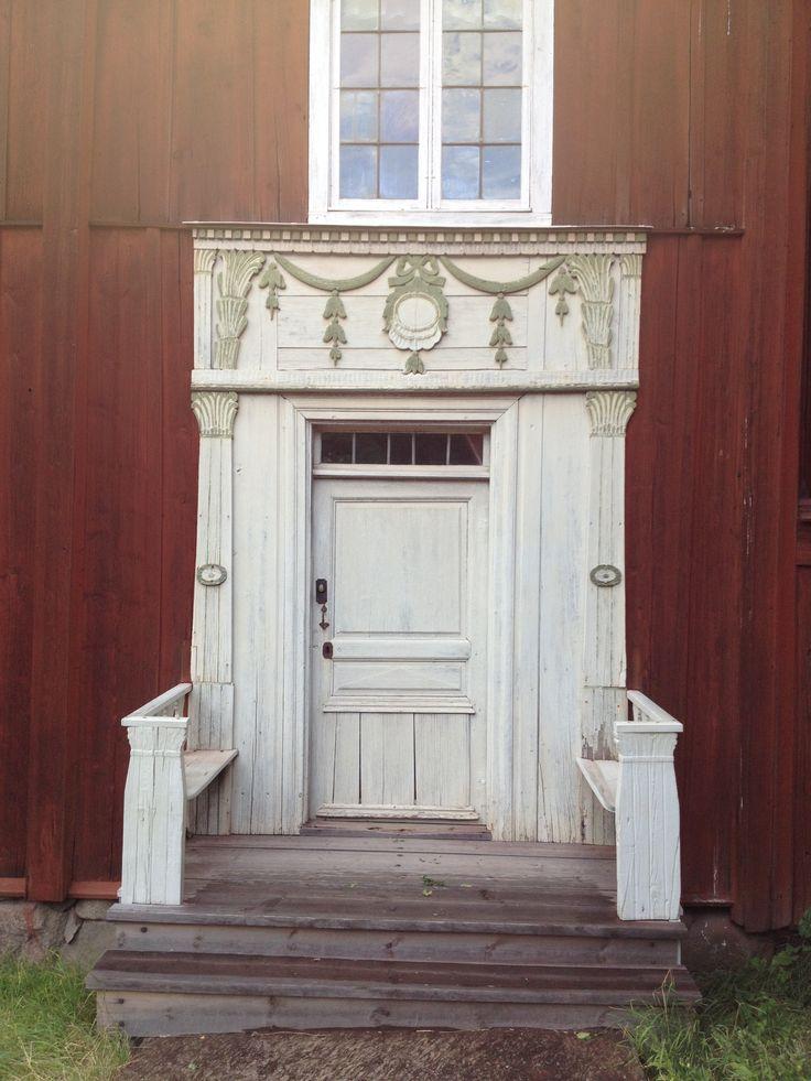 Delsbo house doorway in Skansen, (ursprungligen från Ljusdal) Stockholm