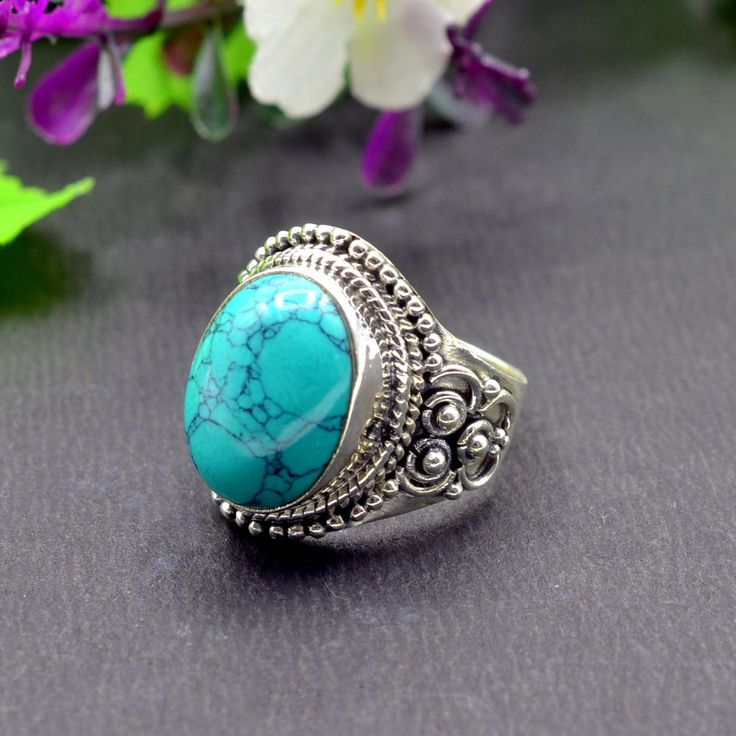 925 Solid Sterling Silver Turquoise Gemstone Handmade Mens Ring Size 9.25 R538 #Handmade #Cluster #Party