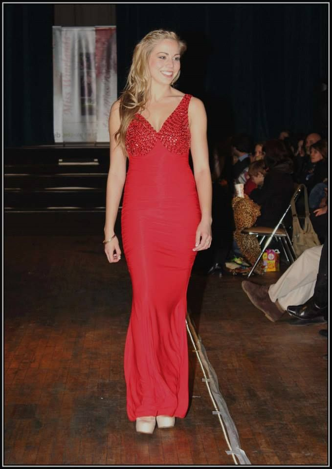 Red evening dress with rhinestones at bodice - R800