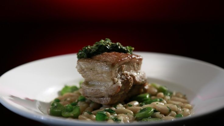 Bree and Jessica's Braised Pork Belly with White Bean Ragu and Salsa Verde