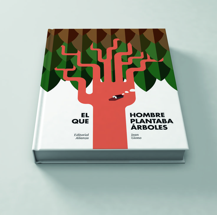 """Illustrated cover for """"The man who planted trees"""" 