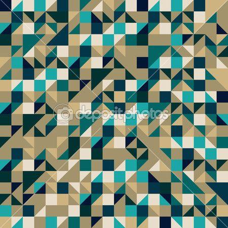 三角形と正方形の幾何学的なシームレスなパターン — ストックイラストレーション #11533441