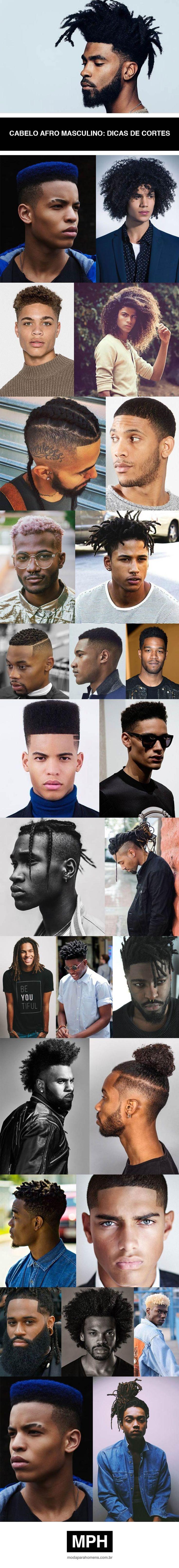 Diferentes cortes de cabelo masculino para quem tem cabelo crespo ou afro.